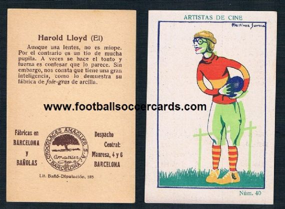1926 Hollywood legend Harold Lloyd as The Freshman Gridiron scene from the movie Spanish trade card